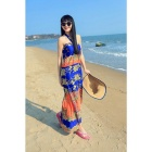Fashion Retro Women's Stylish Pattern Polyester Halter Long Dress - Blue + Orange + Multicolor (M)