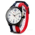 CURREN Männer Modische Canvas Band analoge Quarz-Armbanduhr - Weiß + Red + Multicolor (1 x 626)