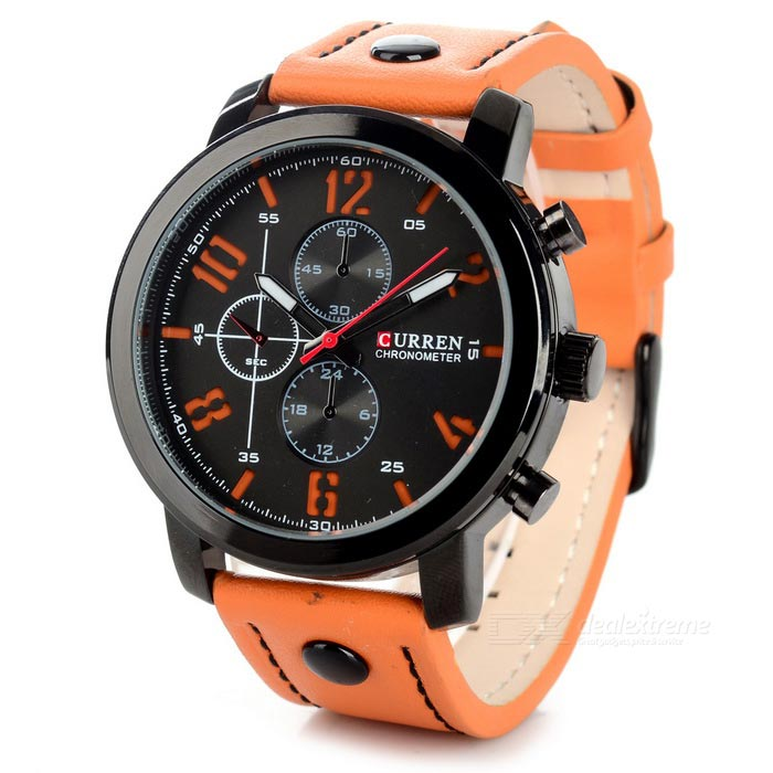 CURREN 8192 Men's PU Band Quartz Analog Wrist Watch - Orange + Black