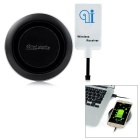 Mini Smile Qi Wireless Charger + Micro USB Wireless Receiver + Charging Cable - Black