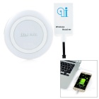 Mini Smile Qi Wireless Charger + Micro USB Wireless Receiver + Charging Cable - White