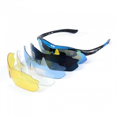 ROBESBON Resin Lens PC Frame UV Polarized Sunglasses - Black + Blue