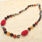 Gorgeous Design Fancy Agate with Carved Onyx Beads Necklace-Ruby