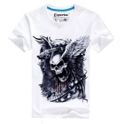 EXPERTEE Skull Pattern Cotton + Polyester T-shirt - White + Black (Size XL)