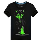 EXPERTEE 3D Printing Luminous Wolf Pattern Cotton + Polyester T-shirt - Black (XL)