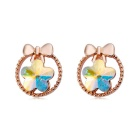 Gorgeous Crystals Inlaid Plum Blossom Ear Studs Earrings - Rose Gold (Pair)