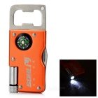 SDBL Multifunction Keyring + LED Light + Knife + Bottle Opener + Compass - Orange + Silver