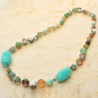 Gorgeous Design Fancy Agate with Carved Onyx Beads Necklace-Turquoise