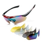 ROBESBON Outdoor Sports Resin Lens PC Frame UV Polarized Sunglasses - Black + Red