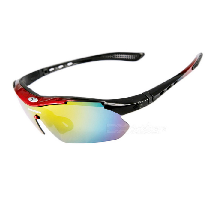 04b3e07a35a ROBESBON Outdoor Sports Resin Lens PC Frame UV Polarized Sunglasses - Black  + Red