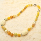 Gorgeous Design Fancy Agate with Carved Onyx Beads Necklace-Lemon