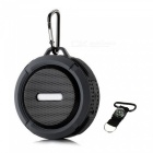 Outdoor / Indoor Portable IP65 Waterproof Wireless Bluetooth 3.0 Speaker w/ Micro SD - Black