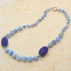 Gorgeous Design Fancy Agate with Carved Onyx Beads Necklace-Sapphire