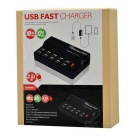 WLX-838 Portable 10-Port USB Power Control Smart Fast Charger - Black