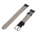 Replacement 16mm Durable PU Watch Band Strap w/ Pin Buckle - Black