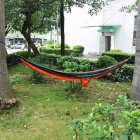 Outdoor Parachute Fabric Hammock for Two Person - Orange + Dark Green