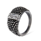 Retro Dots Pattern Crystals Inlaid Ring - Antique Silver + Black (US Size 8)