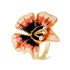 Trendy Petals Shaped Crystals Inlaid Ring - Golden (US Size 8)