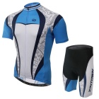 XINTOWN Outdoor Cycling Polyester + Spandex Short Sleeves Jersey + Shorts Set - White + Blue (L)