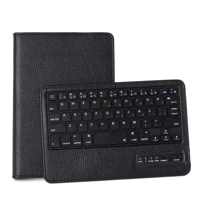 59-Key Bluetooth Keyboard w/ Rotary PU Case for IPAD Mini - Black