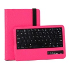 59-Key Bluetooth Keyboard V3.0 w/ 360 Degree Rotation PU Case for IPAD Mini - Deep Pink
