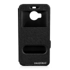 Dulisimai Protective Flip-Open PU + PC Case w/ Dual View Windows / Stand for HTC M9Plus - Black