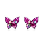 Women's Butterfly Style Alloy + Crystal Decorated Stud Earrings - Silver + Pink (Pair)