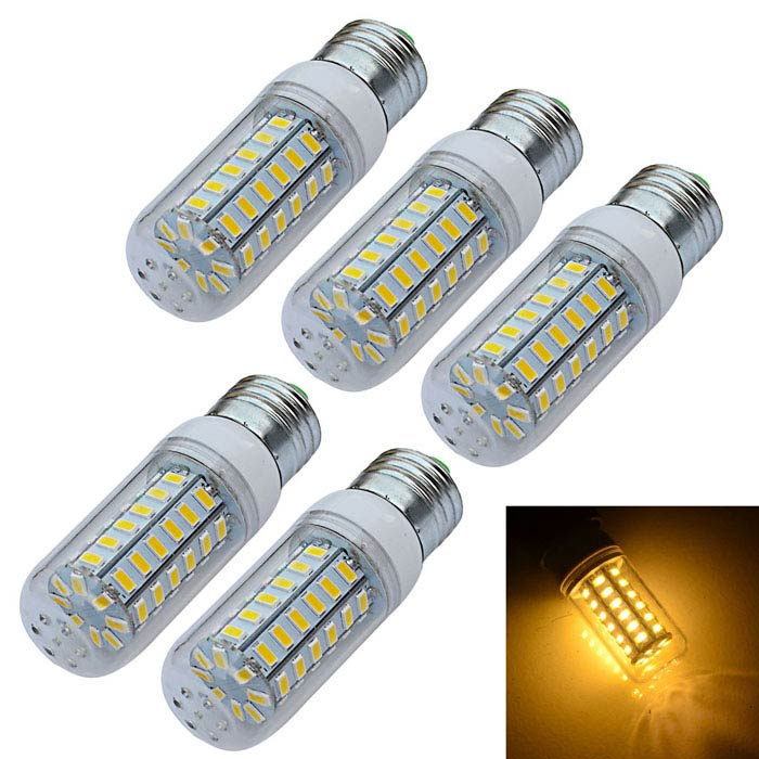 JIAWEN E27 9W LED Corn Light Warm White 3200K 720-900lm 56-SMD (5PCS)E27<br>Form  ColorWhiteColor BINWarm WhiteMaterialPlasticQuantity1 DX.PCM.Model.AttributeModel.UnitPower9WRated VoltageAC 220 DX.PCM.Model.AttributeModel.UnitConnector TypeE27Emitter TypeOthers,5730 SMDTotal Emitters56Theoretical Lumens720-900 DX.PCM.Model.AttributeModel.UnitActual Lumens720-900 DX.PCM.Model.AttributeModel.UnitColor Temperature12000K,Others,3000-3200KDimmableNoBeam Angle360 DX.PCM.Model.AttributeModel.UnitPacking List5 x LED lights<br>