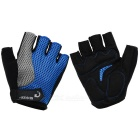 MOke Outdoor Cycling Breathable Sweat-Absorbing Half-Finger Gloves - Black + Blue (L / Pair)