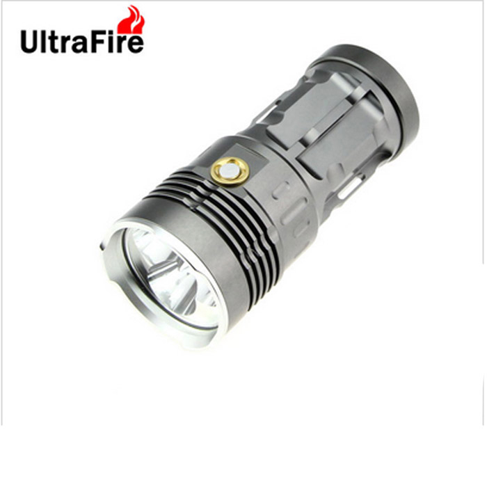 ultrafire 3-LED 270lm 3-Mode hvit lommelykt - grå (4 * 18 650)