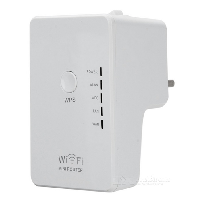 Mini 300Mbps Wireless-N Wall-Plug Router w/ Dual-RJ45, UK Plug - White