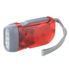 3-LED Dynamo Battery-free Flashlight - Red