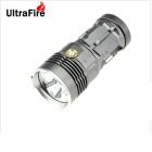 UltraFire 7-LED 630lm 3-Mode White Flashlight w/ Strap - Grey (4 x 18650)