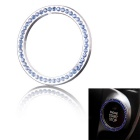 One-Key Engine Start / Stop Chrome Rhinestone Decoration Ring - Silver + Blue