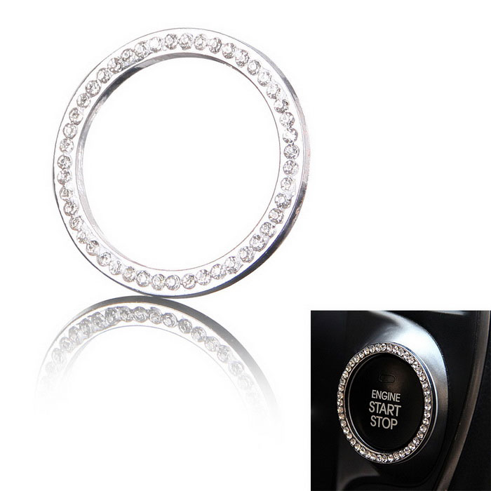 one-key starten van de motor chroom decoratie ring - zilver (40mm / 32mm)