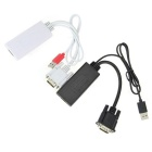 1-to-2 VGA to HDMI AV Adapter Cables Kit - Black + White