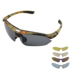 Fashionable UV400 Protection Polarized Sunglasses w/ Myopia Frame + Replacement Lenses - Camouflage