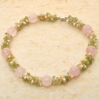 Elegant Rose Quartz Multigem Pearl Necklace