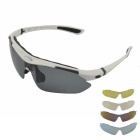 Fashionable UV400 Protection Polarized Sunglasses w/ Myopia Frame + Replacement Lenses - White