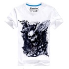 EXPERTEE Pure Cotton + Polyester Skull Design T-shirt - White + Black (Size L)