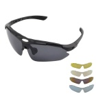 Fashionable UV400 Protection Polarized Sunglasses w/ Myopia Frame + Replacement Lenses - Black