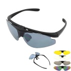 Fashionable UV400 Protection Nylon Sunglasses Frame w/ Replacement Lenses + Myopia Frame - Black