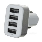 5.1A 4-Port Universal Car Charger Adapter - White + Silver (12~24V)