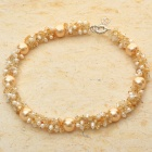 Elegant Golden & White Pearl Necklace