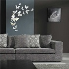 25 x Butterfly Modern Plastic Mirror Wall Home Decal Decor Vinyl Art Stickers - Silver