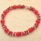 Scarlet Love Red Coral Pearl Necklace