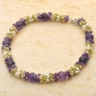 Exquisite Amethyst Peridot Gemstone Pearl Necklace