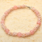 Rare Grapevine Rose Quartz with Pearl Necklace