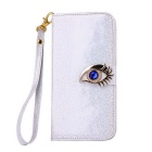 MO.MAT Eye Diamond Pattern Leather Wallet Case with Strap for Samsung Galaxy S6 - White