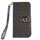 MO.MAT Eye Diamond Pattern Leather Wallet Case with Strap for Samsung Galaxy S6 - Black
